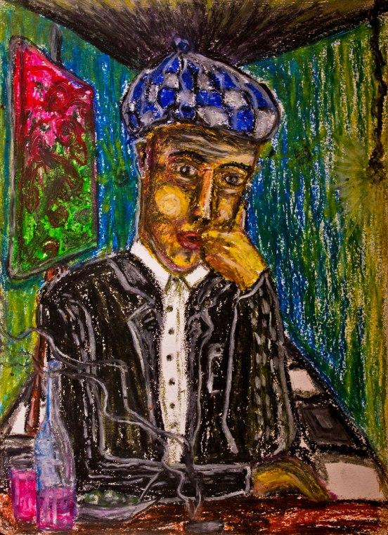 Contemplation. Oil-pastel