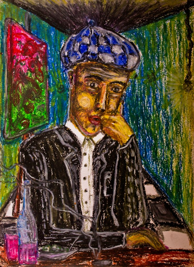 Contemplation. Oil-pastel